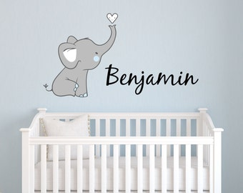 Elephant wall decal etsy for Elephant mural nursery