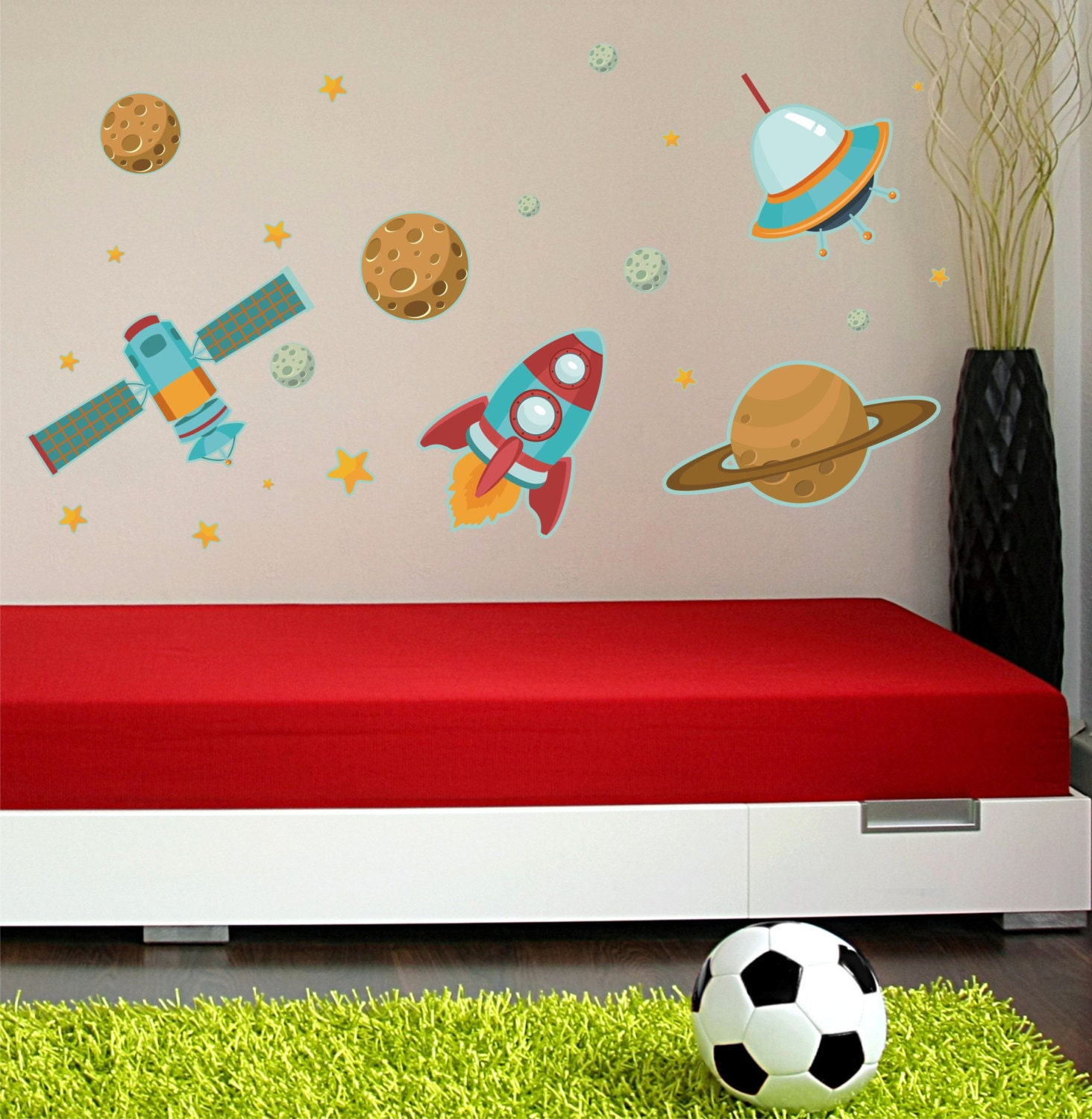 Space ships wall decals outer space wall by decordesignsdecals for Wall decor outer space
