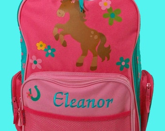 Personalized Stephen Joseph Rolling Luggage HORSE GIRL Themed for Children-Full Monoframming Instructions Required To Complete  Your Order