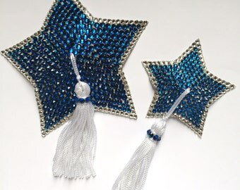 Custom Crystal Star Burlesque or Boylesque Pasties Choose from 29 Colors and 5 Sizes