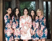Navy Blue Rosy Red Posy Bridesmaids Robes, Kimono Robes, Spa Wraps, Perfect bridesmaids gift, getting ready robes, Bridal Party Robes