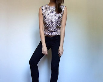 Crop Top Vintage Black and Gold Metallic Sleeveless 1960s 60s Floral Top Back Zip - Extra Small to Small XS S