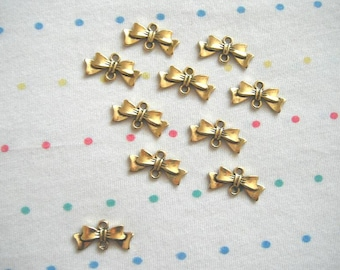 Antique Gold Bow Connector Charms, Antique Finish, Gold Bowknots, 20 mm (40)