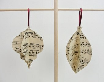 Vintage sheet music ornament large size set of 2