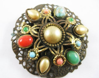 Bohemian Filigree Brooch with Colorful Stones