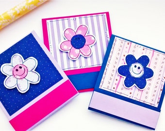Matchbook Notepads - Happy Flowers in Pinks and Purples - Set of Three Mini Notebooks