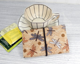 Tea wallet - dragonfly Travel tea bag case - tea caddie - wallet for teabags - 4 pockets - dragonflies