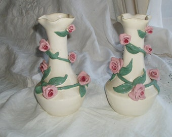 Vintage 1940s Handpainted Rose Vine Ceramic Vase Set Exec Cond Lovely Shabby Chic Decor