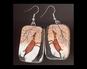 Dairy Goat Jewelry: Autumn Obers Earrings. Original Ink Drawing on Polymer Clay.  Copper Red, Light Gold, , White, Silver Grey, Black 4120