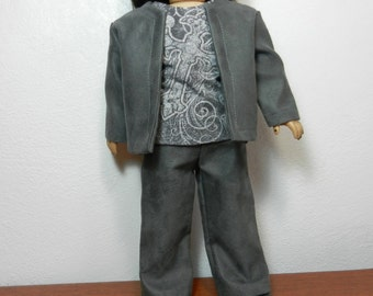 BK Gray Faux Suede Jacket & Flare Slacks with Flying Cross Tee, 3-piece Set - 18 Inch Doll Clothes fits American Girl
