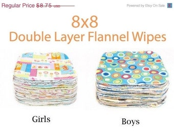 Sale - Clearance 8x8 Sweet Bobbins Cloth Wipes Starter Set of 12 wipes -  Double Layer Flannel  - 8x8
