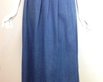 VTG 80s Brooks Brothers Denim Long Pleated Skirt Small Cotton