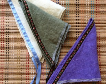 Set of Three Linen Kerchiefs:  Ribbon-Trimmed Head Scarves, r