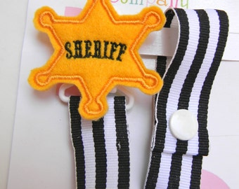 Sheriff Badge Pacifier holder, sheriff pacifier clip, sheriff baby gift, binky clip, baby shower gift, paci clip, back the blue