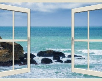 Wall mural window, self adhesive, California open window view-3 sizes available-Pacific, - free US shipping