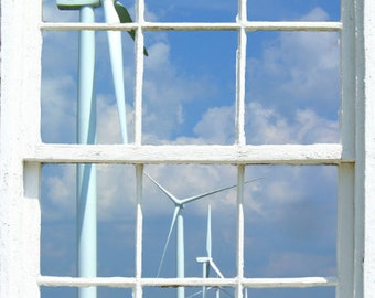 Wall mural window, self adhesive, View of wind turbines in Indiana field - free US shipping