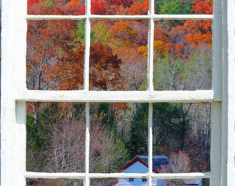 Wall mural window, self adhesive, Cades Cove with cabin white window vertical view-large 24x36 - free US shipping