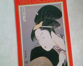 Japanese Geisha Calendar Vintage 1993 red cover - Authentic collectable original Japan Asia