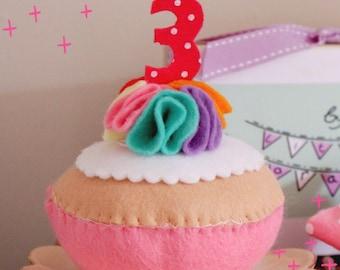 Handmade Rainbow Felt Birthday Cupcake featuring celebration age in felt candles - children, toddler, birthday