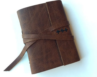 Personalized Leather Journal -Elm- Made to Order Leather Sketchbook Leatherbound Brown Leather Travel Diary Gifts Under 50 Gifts for Him Her