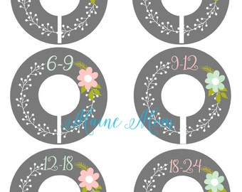 6  FULLY ASSEMBLED Closet Dividers Organizers, Baby Girl Shower Gift,  Nursery Decor, Gray, Mint, Pink, Gray, Pink Flower, Baby Clothes