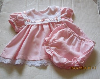 Vintage RARE EDITIONS Baby Infant Girl diaper Top Dress & Panties Size 9M  New