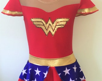 Wonder Woman Inspired Leotard and Skirt. Toddlers Wonder Woman Leotard. Performance Leotard. Dancewear. Size 2T - Girls 12