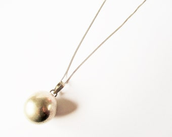 Sterling bell necklace: Gorgeous sterling silver ball necklace with bell inside, sterling silver pendant, sterling silver ball bell necklace