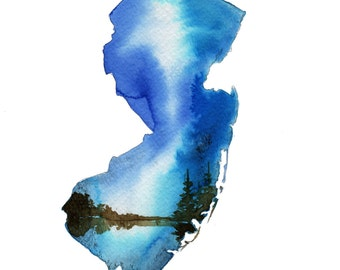 New Jersey, print from original watercolor illustration by Jessica Durrant from Painting the 50 States Project
