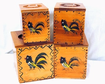 Wooden Decorative Canisters HandPainted  Roosters Woodpecker Woodware