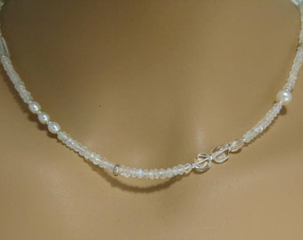 Rainbow Moonstone Necklace with Freshwater Pearl and Rock Crystal in Sterling Silver