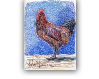 Art Original Rooster Artwork Prismacolor Drawing llmartin Stable Barn Farm Yard Chicken Free Shipping
