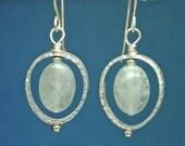 Silver teardrop and aquamarine drop earrings new from paulbead, hammered silver dangle earrings in sterling silver, elegant fine jewelry