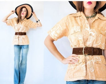 50% OFF SALE... 60's  Vintage Surf Line Liberty House Hawaiian Shirt Blouse with Utility Cargo Pockets and Epaulettes