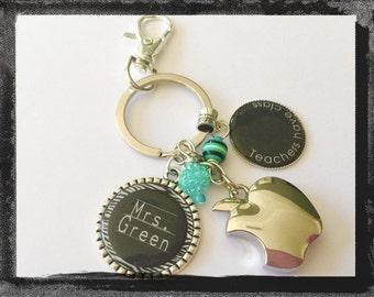 "Teacher Key Chain with Apple Charm  - ""Teachers have class"" Bag Tag Key Ring Coach Neighbor Friend Boss Friend Jewelry #K32"