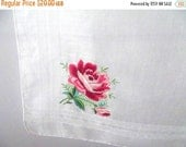 50% OFF Sale Delicate Beautiful Vintage 1950s 1960s Coral Red Pink Satin Stitched Embroidered Rose Hankie Handkerchief Hanky