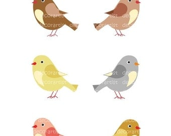 ON SALE Clip art bird, BIRDS , Download and print Png and Jpeg File , brownie birds , instant download