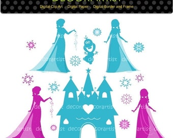 Snow Princess Clip Art, Silhouette princess ,Digital Clip Art for all Use, INSTANT Download