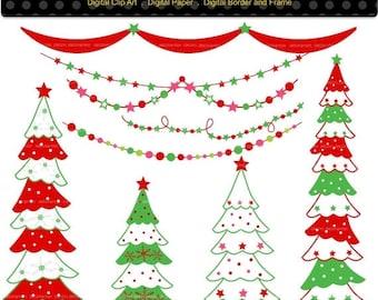 ON SALE Christmas clip art, Christmas tree clip art, bunting clip art, digital clipart