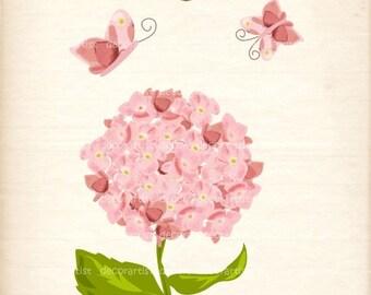 ON SALE Hydrengea clip art, pink flowers, botanical flowers,butterfly clip art, flowers, card making, border , INSTANT Download