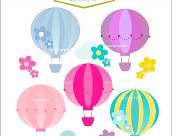 ON SALE balloons clip art , INSTANT Download Digital clip art for all use, hot air balloons 2