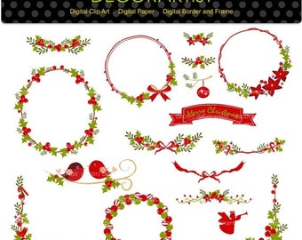 ON SALE Christmas clip art, christmas frame,christmas banner, christmas bunting clip art, digital clipart, instant download