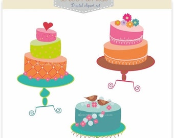 ON SALE clip art,INSTANT Download,Cake clip art, cakes 2, card making,scrapbooking, invitation,cakes
