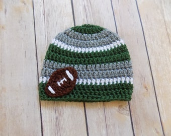 Baby Football Hat, Gray and Green Football Beanie, Crochet Baby Hat