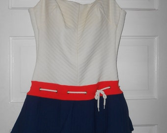 1960s Red, White & Blue Swimsuit - Size M