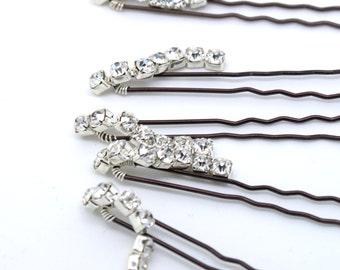 Clear Diamante Dangle Wedding Hair Pins. Set of 5 Bridal Hair Pins. Rhinestone Bridal Hair Clips. Wedding Hair Accessories.
