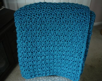 Blue-Teal Afghan Throw Blanket-New Color!