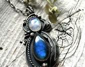Reserve for MK // Labradorite & Moon Stone Pendant