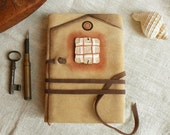 leather journal, notebook, diary in brown and beige with vintage style old paper, custom personalized quote - The Bright Window