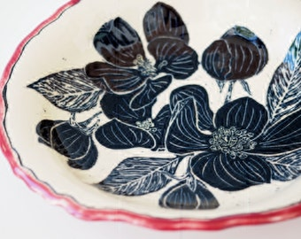 Hand carved bowl - ceramic plate - wall art -  shallow bowl - ceramic bowl - pottery plate -  sgraffito bowl - carved bowl - black and white